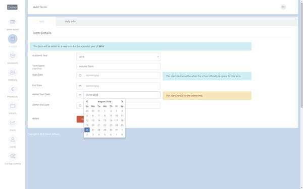 Screen shot of Setup Terms - selecting your Start Admin Date